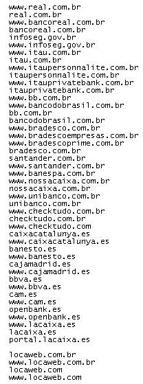 Relação dos sites direcionados a uma página fraudulenta