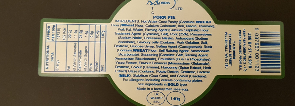 Watchstrap Shaped Food Label