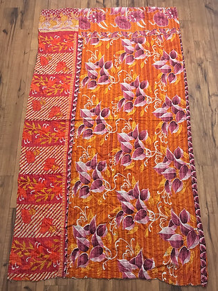 Orange red kantha quilt