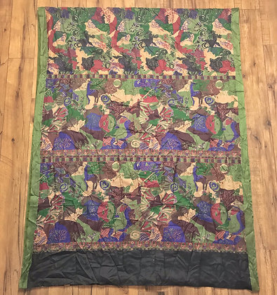 Green and purple vintage Indian silk sari