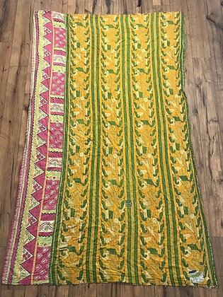 Yellow green pink kantha quilt