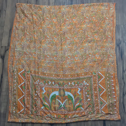 Orange and green vintage Indian silk sari