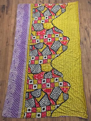 Yellow pink purple kantha quilt