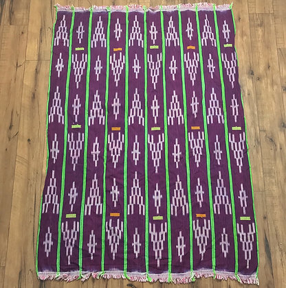 Indigo African ikat baule cloth throw