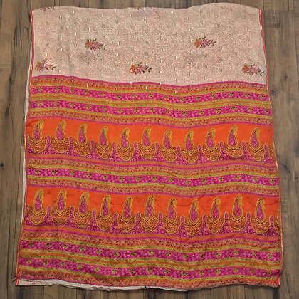 Orange and pink vintage Indian silk sari