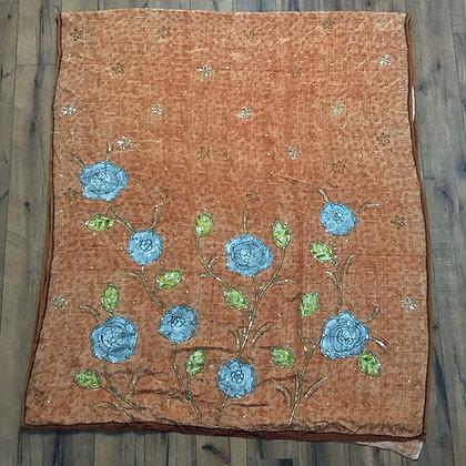 Orange rose silk sari