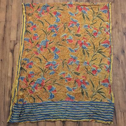 Orange and blue vintage silk sari