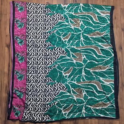 Pink and green vintage silk sari