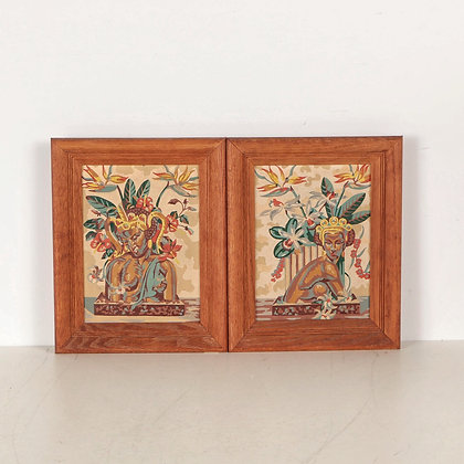 Pair of Vintage Paint-by-Number Paintings