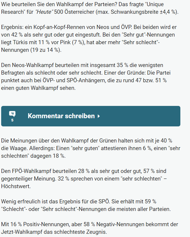 Unique research Umfrage HEUTE Frage der Woche josef kalina peter hajek performance wahlkampf