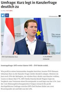 unique research peter hajek josef kalina umfrage politik wahlen waehlertrend profil hochschaetzung sonntagsfrage juli 2019