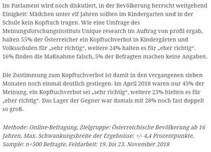 unique research umfrage profil josef kalina peter hajek deutliche mehrheit für kopftuchverbot