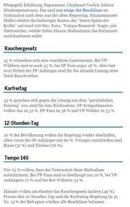 Unique research Umfrage HEUTE Frage der Woche josef kalina peter hajek Gesetzesrücknahmen FPÖ ÖVP Rauchergesetz Karfreitag 12h Arbeitstag 140 km/h Teststrecke