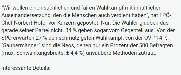Unique research Umfrage HEUTE Frage der Woche josef kalina peter hajek schmutziger wahlkampf