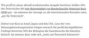 unique research josef Kalina peter hajek Profil Auslandsreisen des Regierungschefs Sebastian Kurz Bundeskanzler Staatsbesuche USA Israel Japan