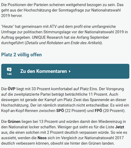 unique research peter hajek josef kalina umfrage politik wahlen nationalratswahl 2019 online artikel heute