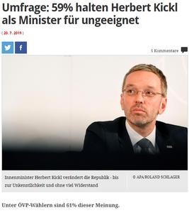 unique research josef Kalina peter hajek Profil Umfrage Herbert Kickl Ministeramt