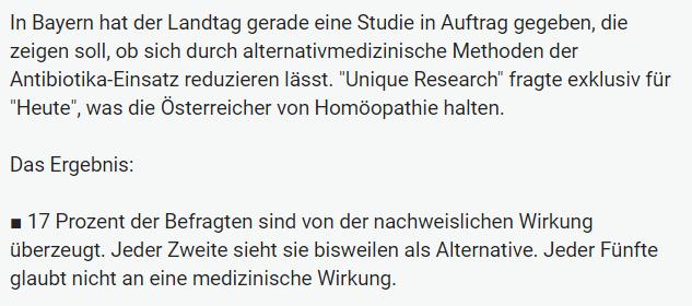 Unique research Umfrage HEUTE Frage der Woche josef kalina peter hajek homoeopathie meinung