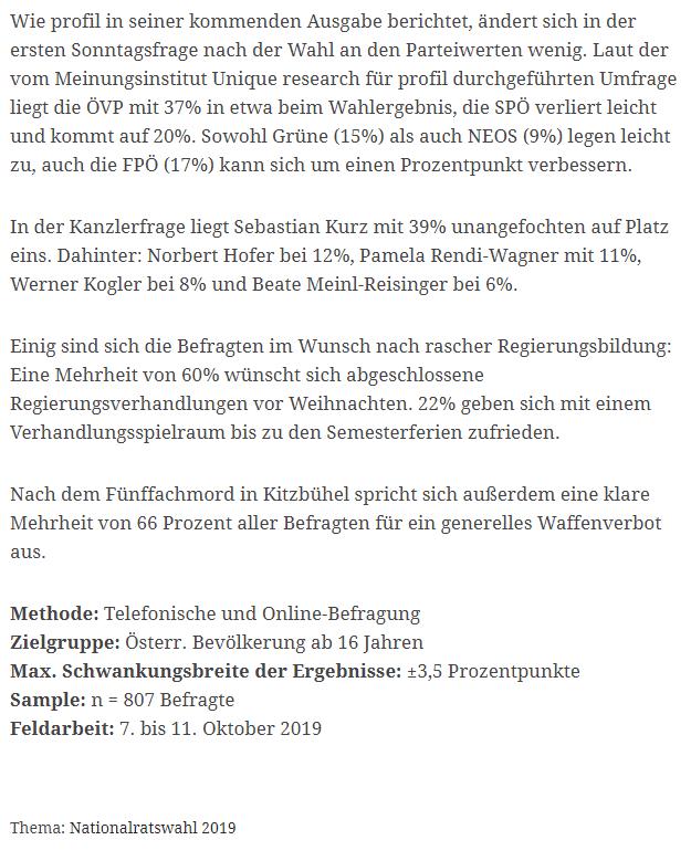 unique research peter hajek josef kalina umfrage politik wahlen waehlertrend profil hochschaetzung sonntagsfrage oktober2019