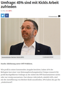 unique research josef Kalina peter hajek Profil Umfrage Arbeit des Innenministers Herbert Kickl politische Vorschläge