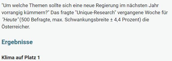 Unique research Umfrage HEUTE Frage der Woche josef kalina peter hajek themen bundesregieurng