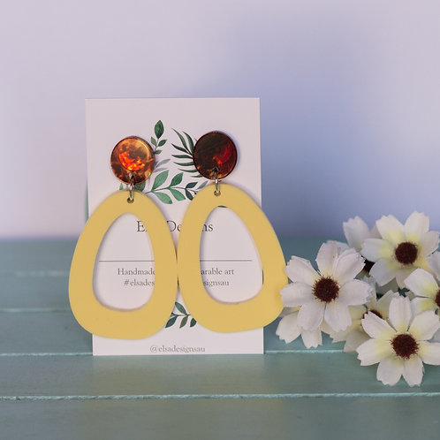 Elsa Designs -  Lava & Yellow Shape Dangles