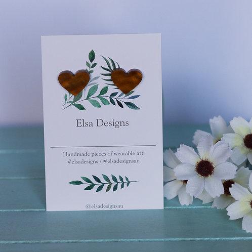 Elsa Designs -  Brown Heart Studs