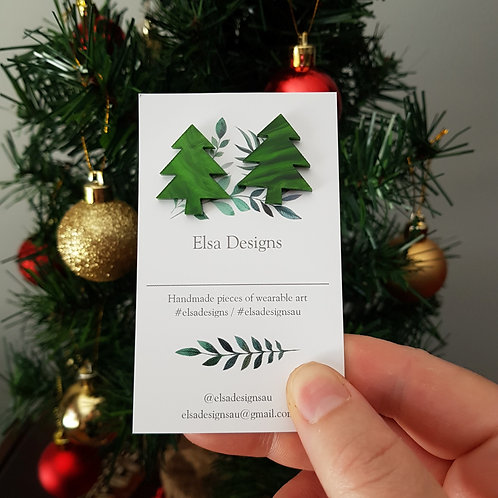 Elsa Designs - Christmas Tree Studs (Marble)
