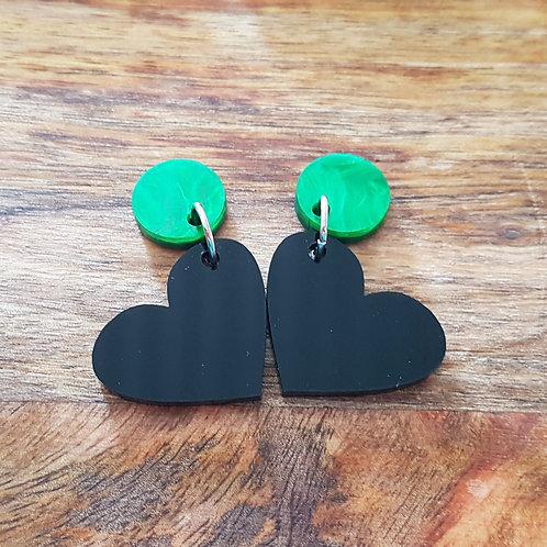 Elsa Designs - Black Heart Dangle Earrings (Green)