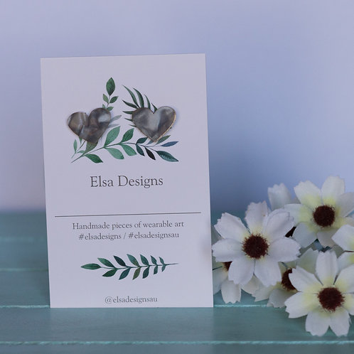 Elsa Designs -  Light Grey Heart Studs