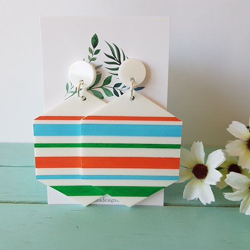 Elsa Designs - Striped Dangles (Beachy)