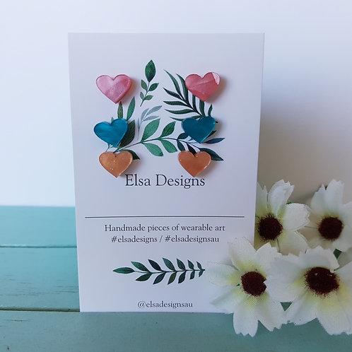 Elsa Designs -  Candy Heart Studs Triple