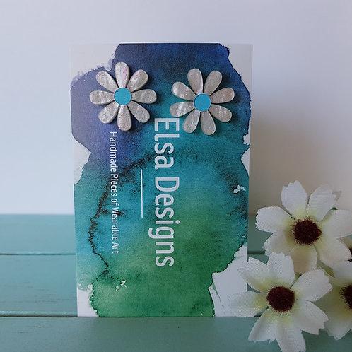 Elsa Designs - Sparkling Daisy Studs (Light Blue)