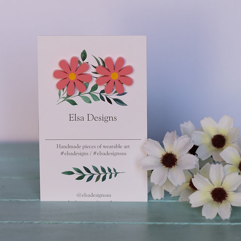 Elsa Designs - Raspberry Daisy Studs
