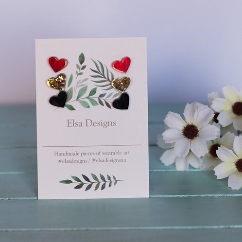 Elsa Designs -  Desert Heart Studs Triple