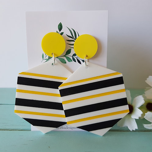 Elsa Designs - Striped Dangles (Bumble Bee)