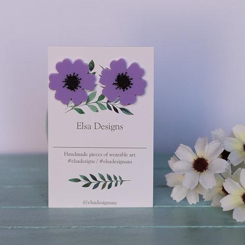 Elsa Designs -  Purple Poppy Studs