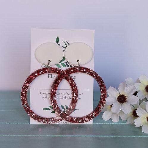 Elsa Designs -  Large Pink Glitter Circle Dangles