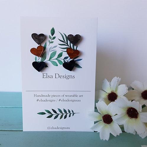 Elsa Designs -  Autumn Heart Studs Triple