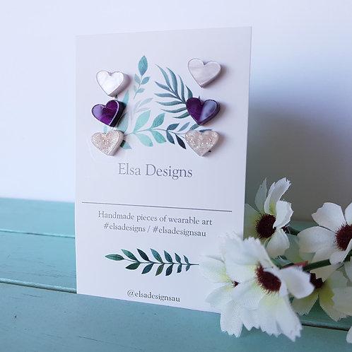 Elsa Designs -  Soft Palette Heart Studs Triple