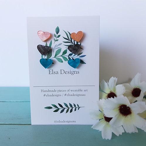 Elsa Designs -  Playful Heart Studs Triple