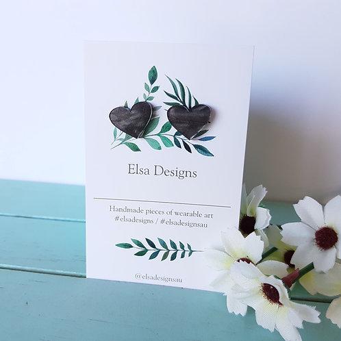 Elsa Designs -  Dark Grey Heart Studs