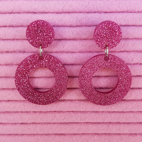 Elsa Designs - Hoop Dangle Earrings (Pink Glitter)