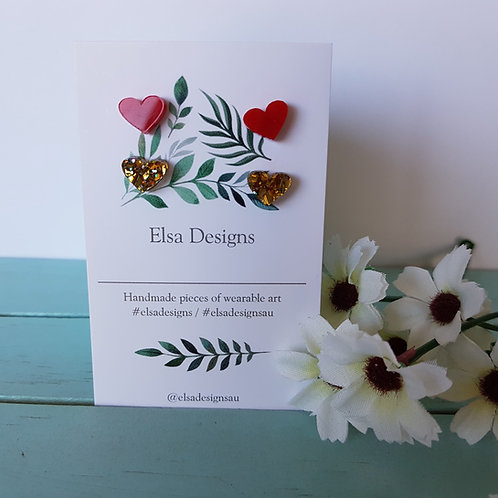 Elsa Designs - Red & Gold Heart Studs Duo