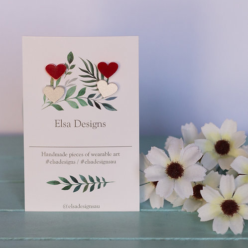 Elsa Designs - Red & White Heart Studs Duo