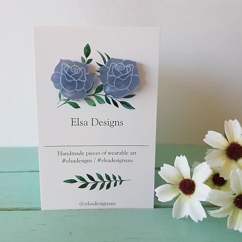 Elsa Designs - Blue Rose Studs