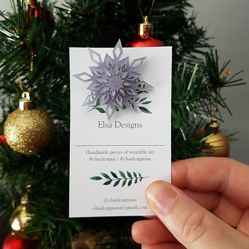 Elsa Designs - Christmas Snowflake Brooch (Marble Blue/Grey)