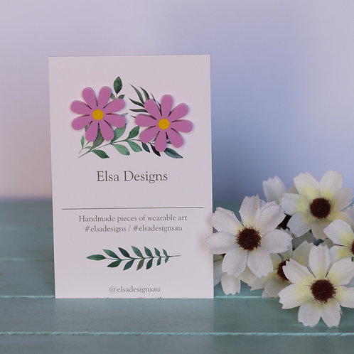 Elsa Designs - Purple Daisy Studs