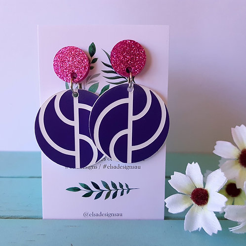 Elsa Designs - Purple Wavy Circle Dangles