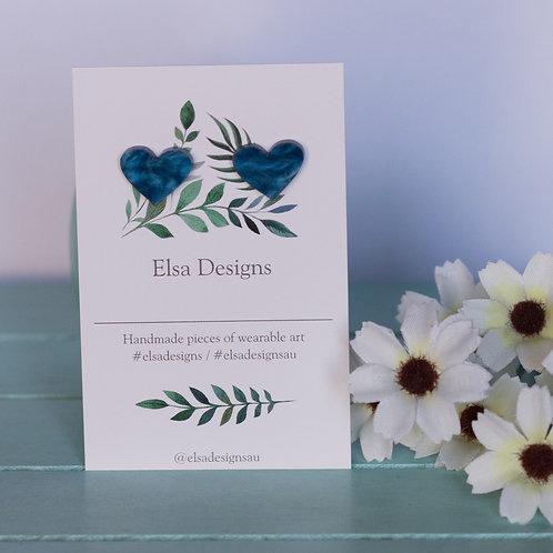 Elsa Designs -  Blue Heart Studs